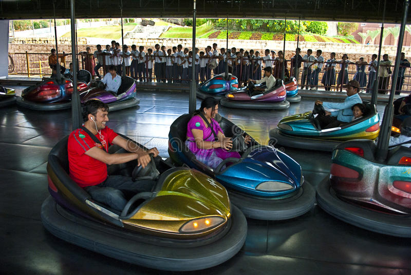 Adventure amusement sports. A group of tourist is enjoying the adventure of magnetic car riding at the amusement park at Ramoji film city, India stock image