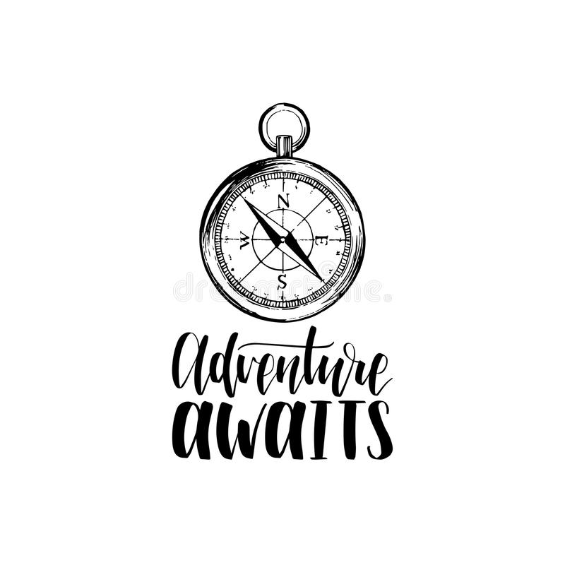 Adventure Awaits hand lettering poster. Vector travel label template with hand drawn compass illustration. vector illustration