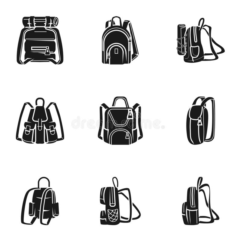 Adventure backpack icon set, simple style. Adventure backpack icon set. Simple set of 9 adventure backpack vector icons for web design isolated on white vector illustration