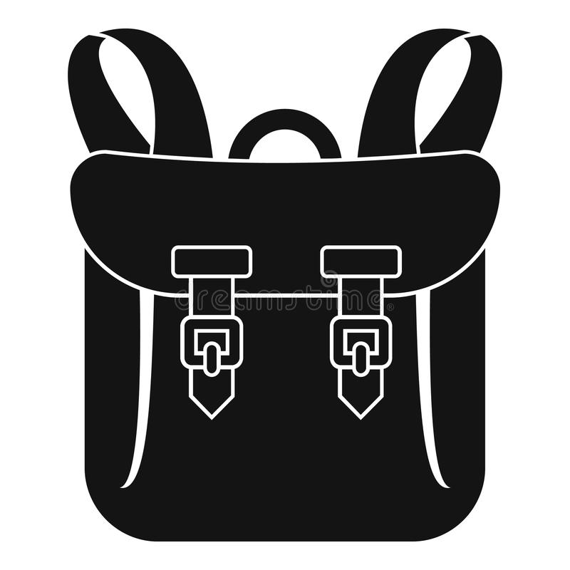 Adventure backpack icon, simple style. Adventure backpack icon. Simple illustration of adventure backpack vector icon for web design isolated on white background royalty free illustration
