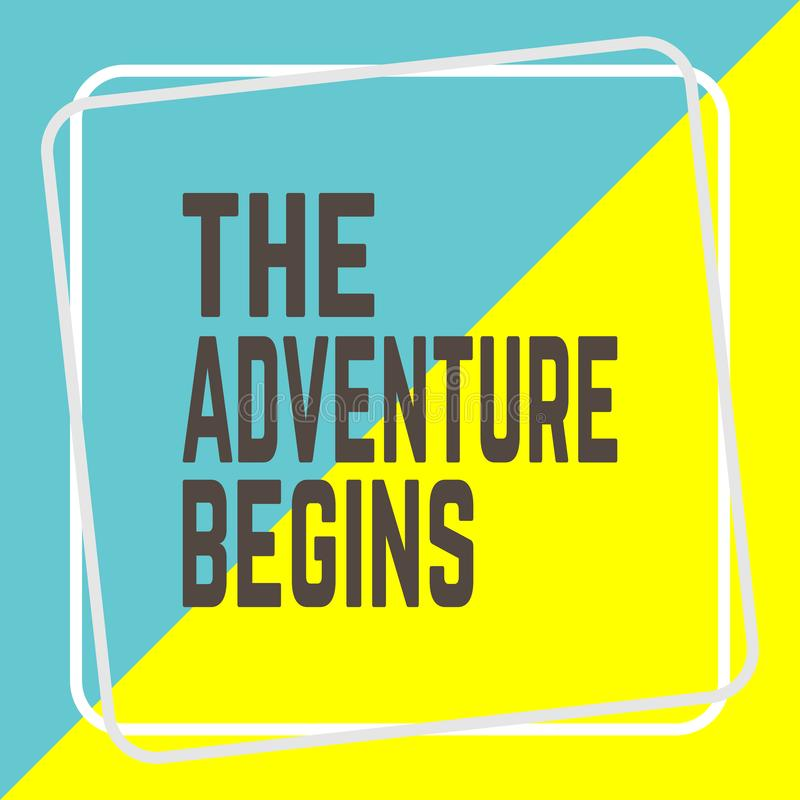 THE ADVENTURE BEGINS word on education royalty free illustration