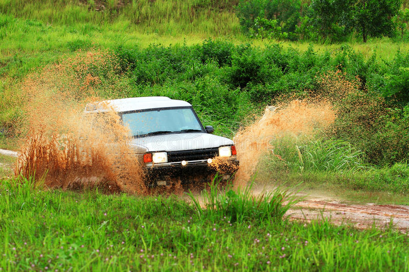 Download Adventure Car Drive Ploughs Through The Water Stock Image - Image of trail, reflection: 15844391