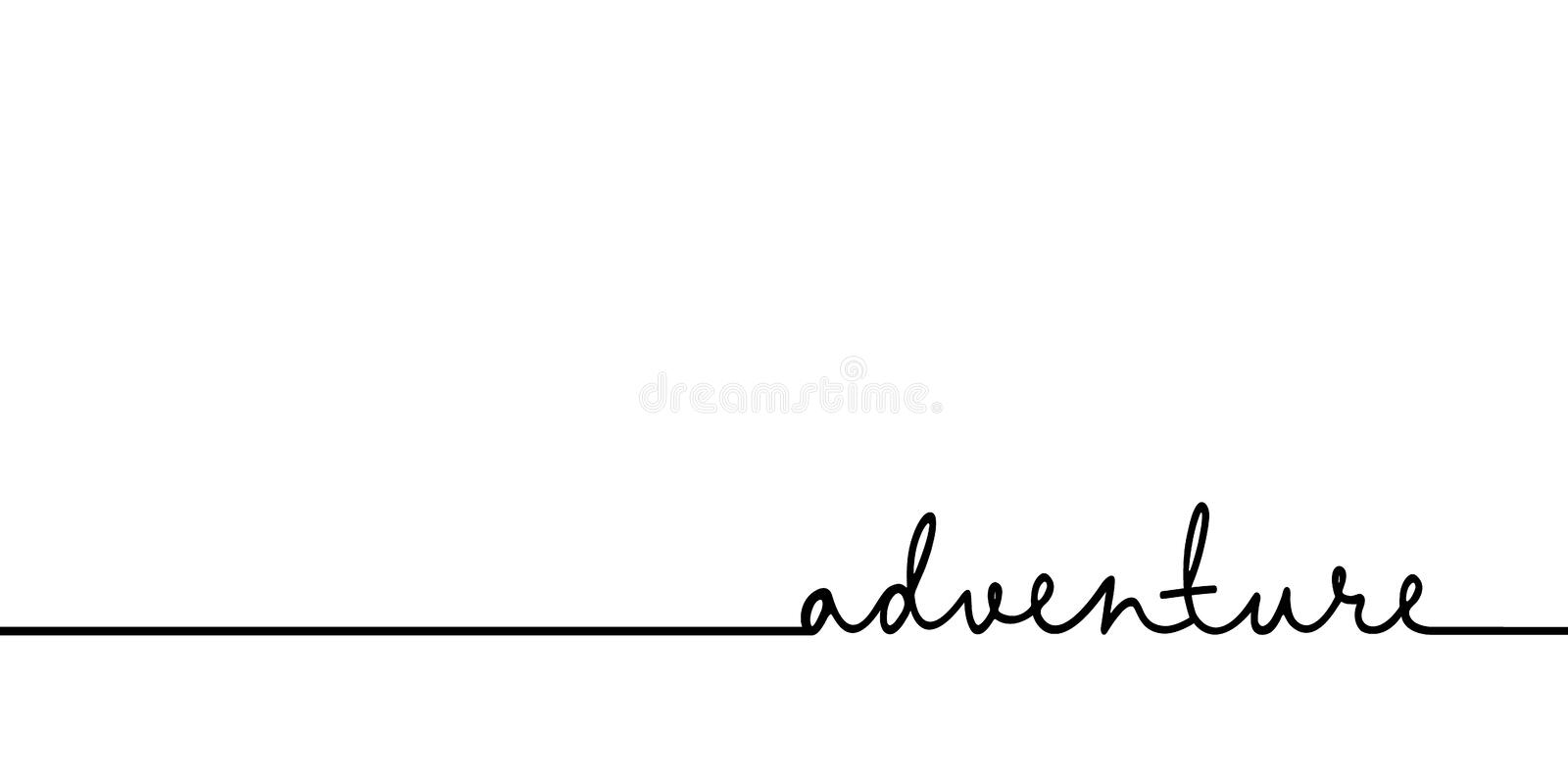 Adventure - continuous one black line with word. Minimalistic drawing of phrase illustration royalty free illustration