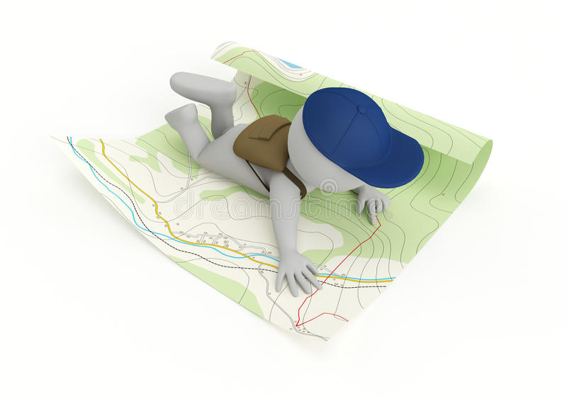 Adventure. 3D tourist reading a map - isolated over a white background vector illustration