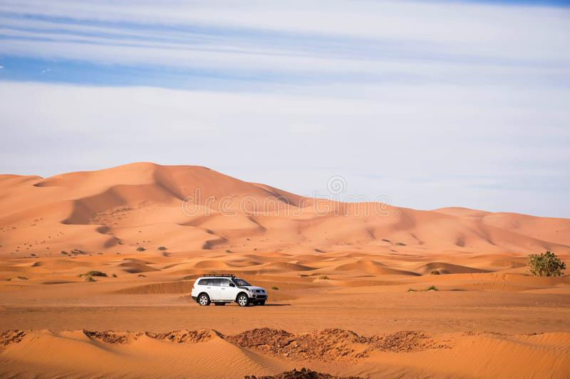 White offroad car driving in the sahara of merzouga morocco. High sand dunes in the background. Desert driving. Exploring offroad. royalty free stock images