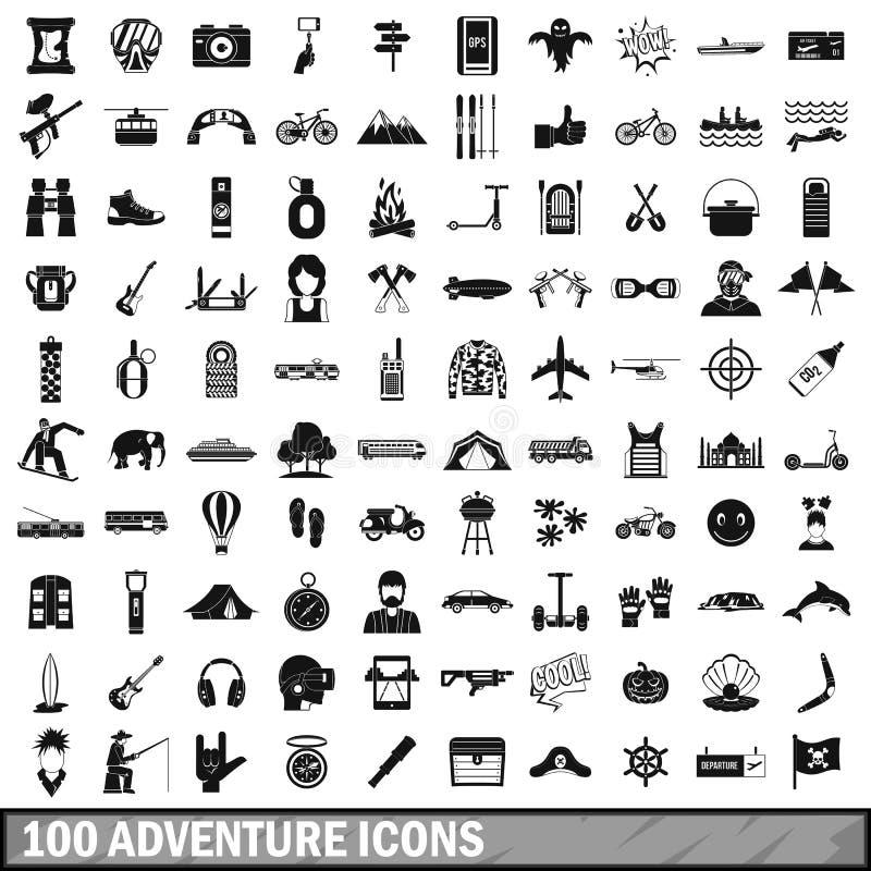 100 adventure icons set, simple style royalty free illustration
