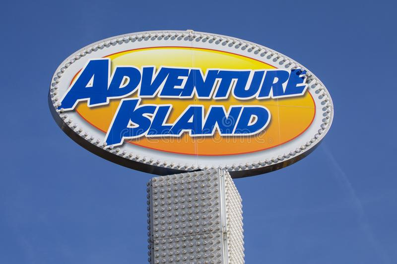 Adventure Island Amusement Park in Southend. SOUTHEND-ON-SEA, ESSEX - APRIL 18TH 2018: A sign at the Adventure Island amusement park in Southend-on-Sea in Essex stock image