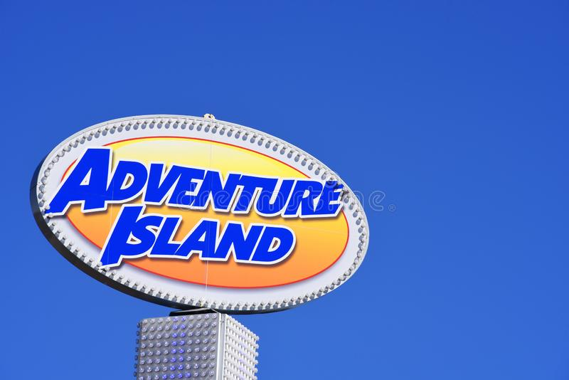 Adventure Island sign, Southend on Sea, Essex, UK. Blue sky. Summer seaside attraction. Space for copy royalty free stock image