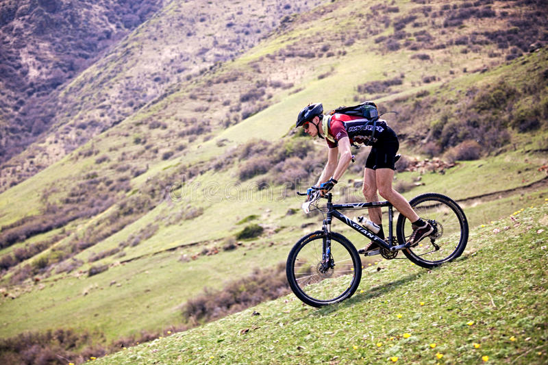 Adventure mountain bike competition stock images