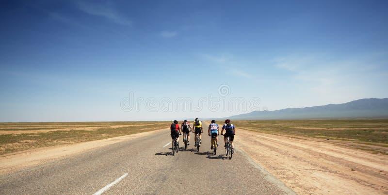 Adventure mountain bike maranthon in desert stock photos