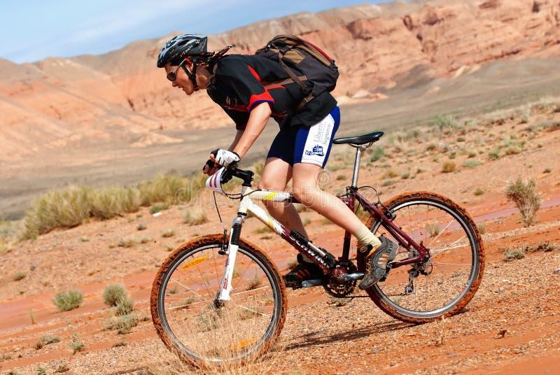 Adventure mountain bike marathon in desert stock photo