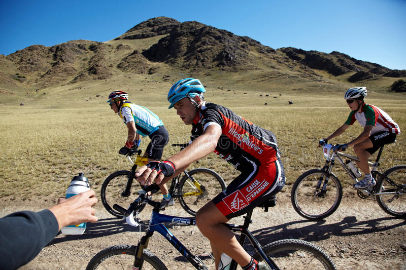 Adventure mountain bile competition royalty free stock photography