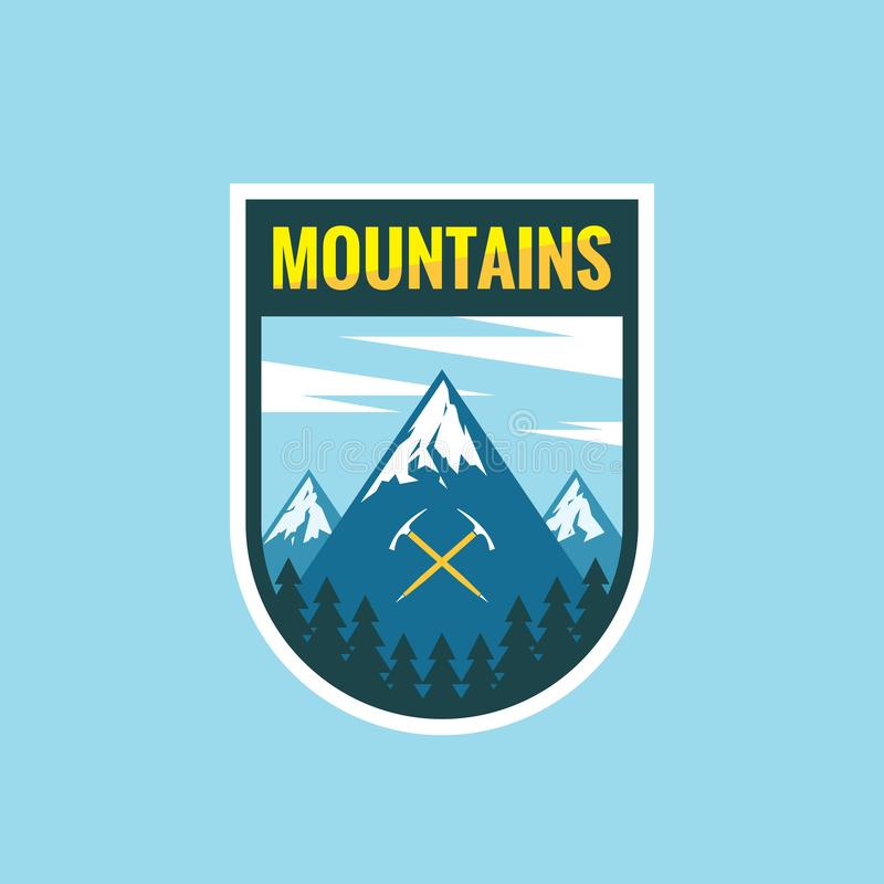 Adventure mountains - concept badge vector illustration. Expedition explorer creative logo in flat style. Discovery outdoor sign. stock illustration
