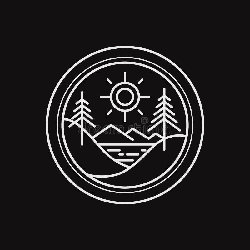 Adventure outdoor forest logo design badge line art illustration stock illustration