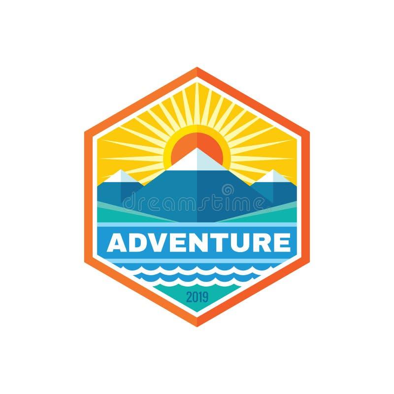 Adventure outdoor travel - concept business badge logo template vector illustration. Mountains nature creative sign emblem stock illustration
