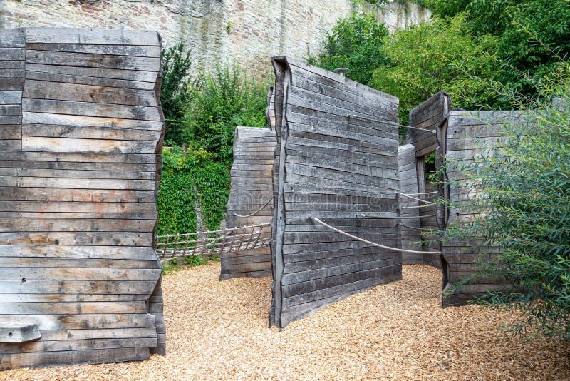 Adventure playground made of wood stock photos