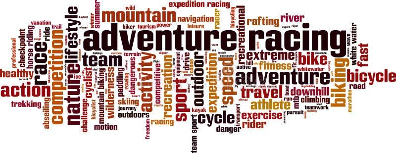 Adventure racing word cloud royalty free illustration