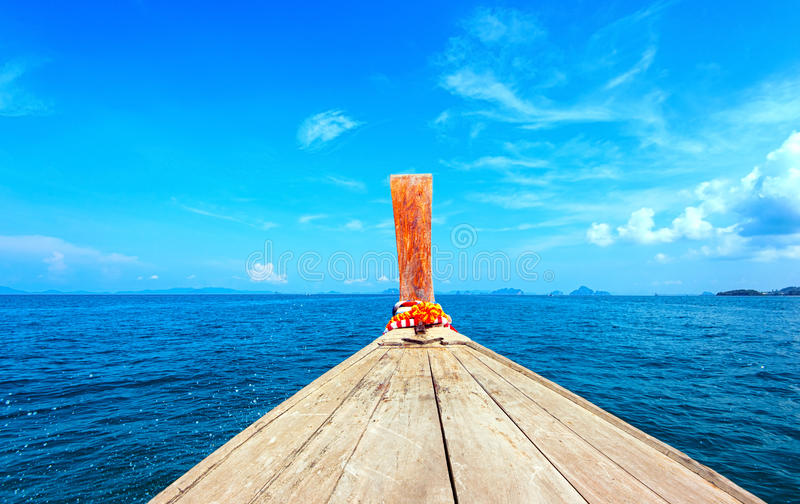 Adventure seascape background of trip journey by tourist boat. In Thailand at clear summer day with blue sky. Point of view photography of ship moving stock photo
