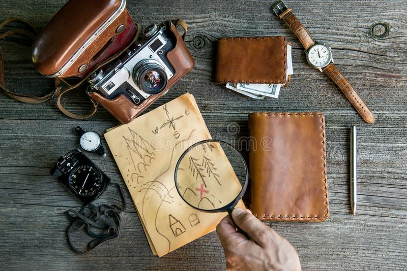 Adventure seeker set. Personal travelers accessories. Vintage background royalty free stock image