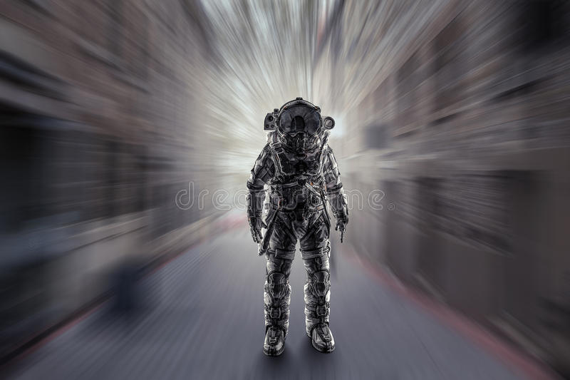 Adventure of spaceman. Mixed media stock images