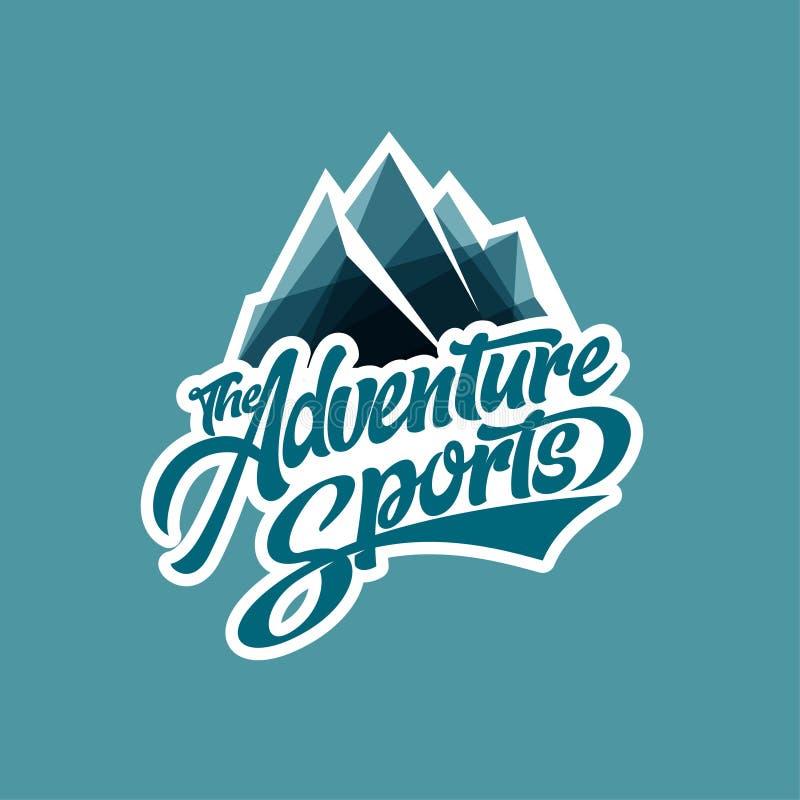 Adventure-Sport-Logo Briefe und Eisberg Arktische Reise Extreme Bekleidungsmarke lizenzfreie abbildung