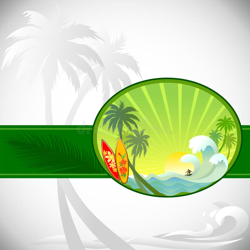 Download Adventure Surfing In Tropical Island Stock Vector - Image: 23656301