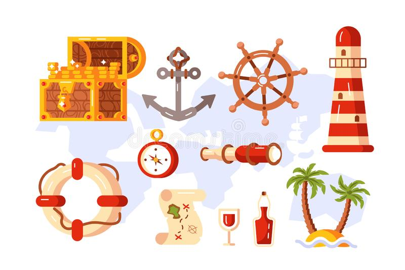 Adventure symbols set stock illustration