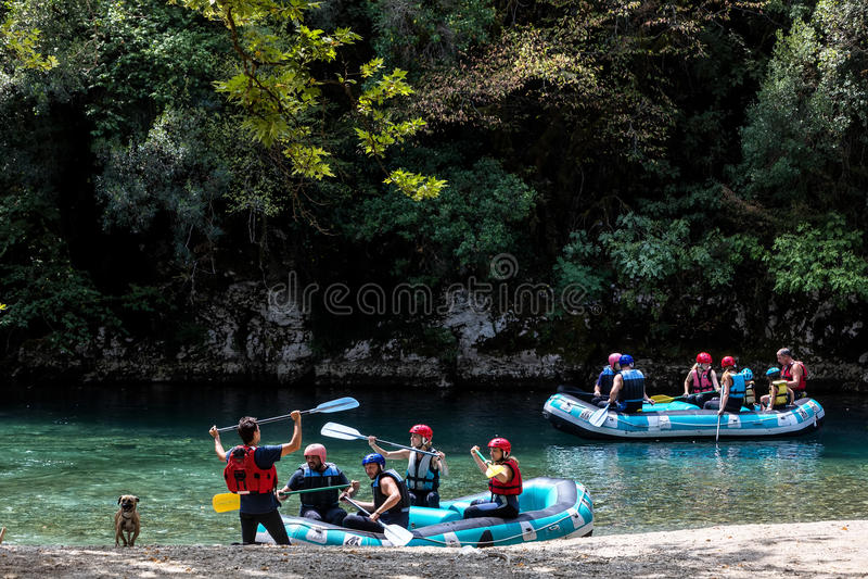 Adventure team doing rafting of the Voidomatis River in Zagori stock photo