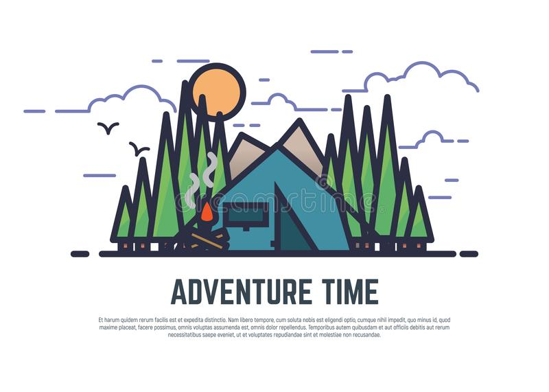 Adventure time camping royalty free illustration
