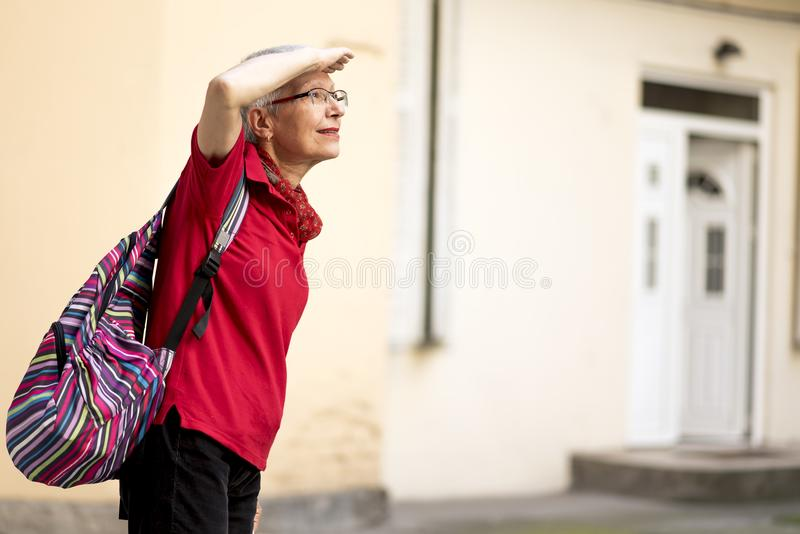 Adventure time for an older lady stock image