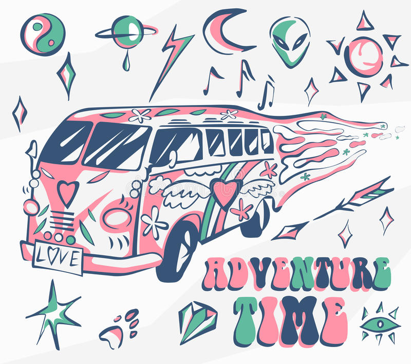 Adventure time vector poster. Hippie car, mini van with different symbols. Retro colors. Psychedelic concept. Vector illustration royalty free illustration