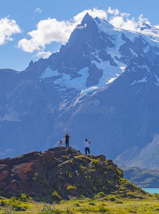 Adventure in Torres del Paine national park, Patagonia, Chile stock photos