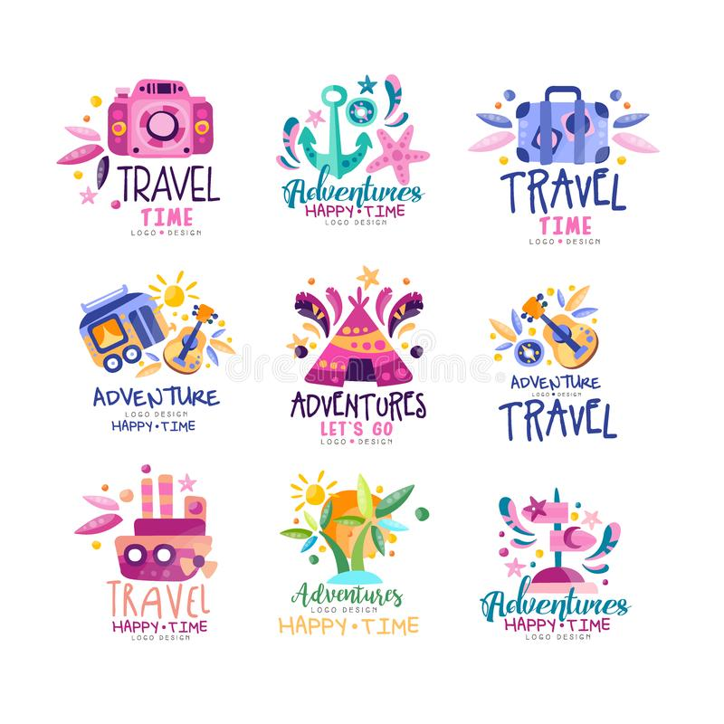 Adventure travel happy time logo design set, summer vacation, holidays, tourist agency creative labels, badges vector stock illustration