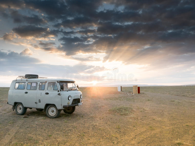 Adventure travel in Mongolia desert of Gobi at sunset. Adventure travel in Mongolia desert of Gobi royalty free stock photos