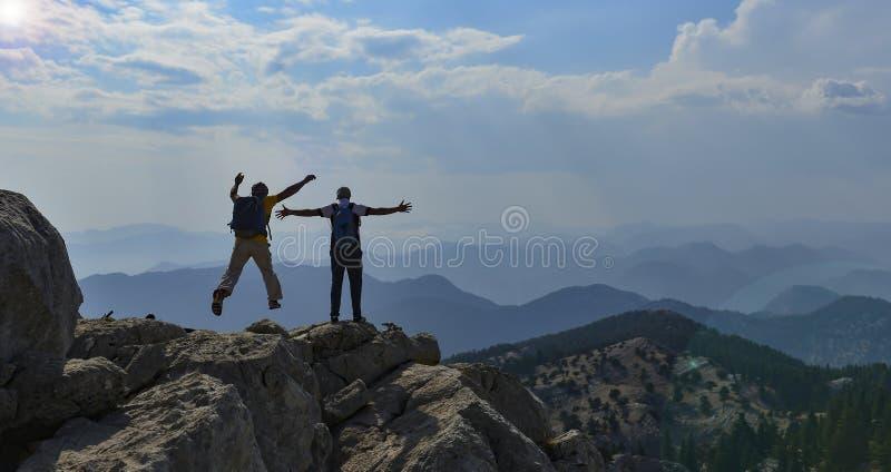 Adventure trip and explore the mountain range. Mountaineering success ; adventure trip and explore the mountain range stock photos
