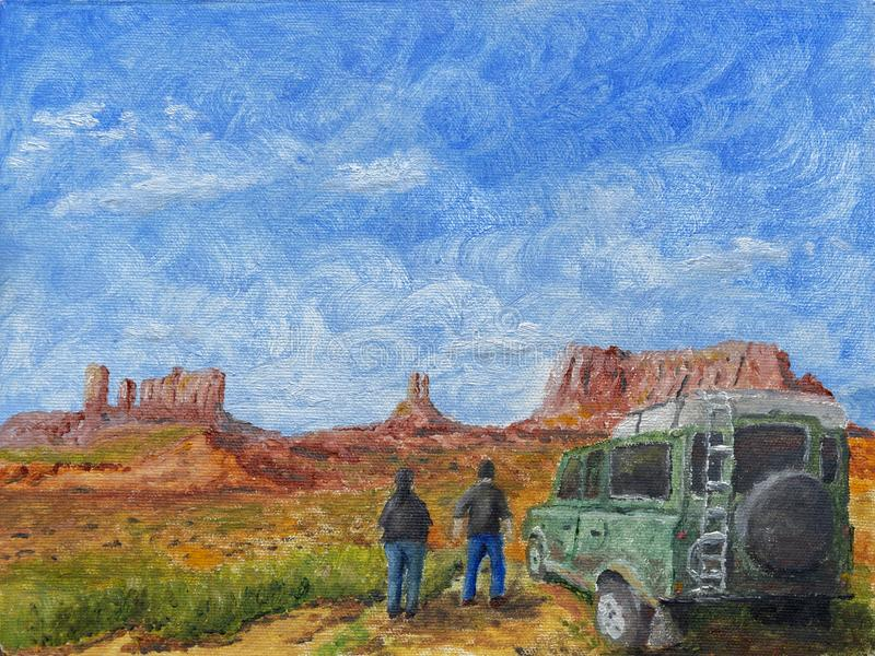 Adventure Trip Oil Painting. An oil painting of an adventure trip royalty free stock photography