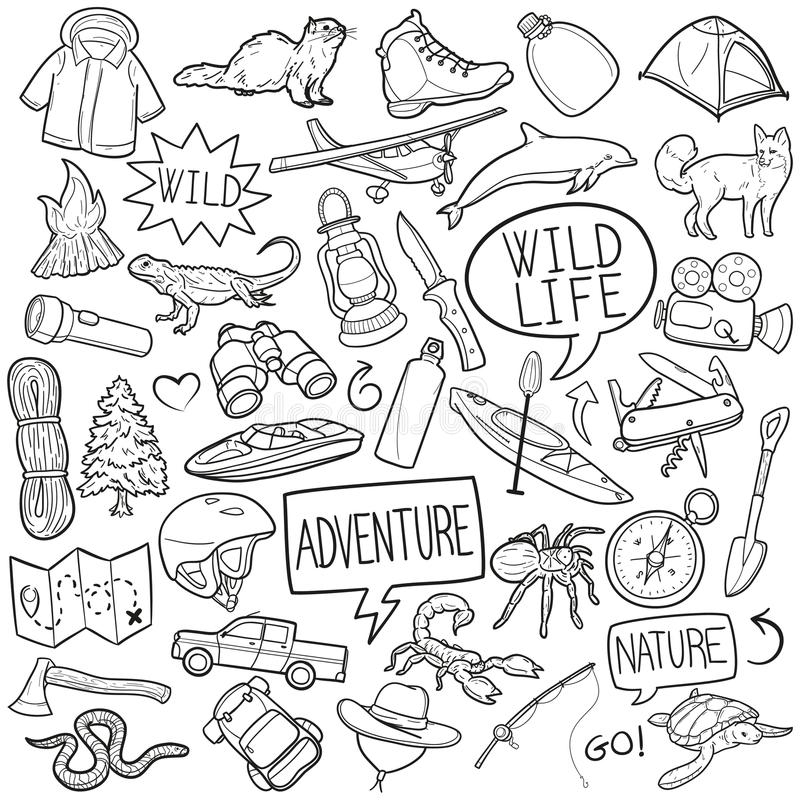 Free Adventure Wild Life Nature Traditional Doodle Icons Sketch Hand Made Design Vector Royalty Free Stock Image - 105812076