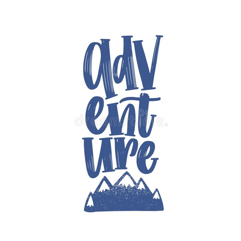 Adventure word or text handwritten with elegant cursive calligraphic font and decorated by mountains or cliffs. Stylish stock illustration
