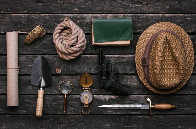 Adventurer accessories. Treasure hunter equipment. Explorer table. stock image