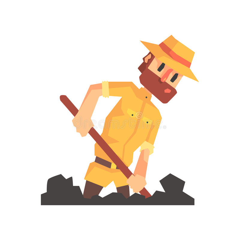 Adventurer Archeologist In Safari Outfit And Hat Digging The Ground Illustration From Funny Archeology Scientist Series. Cartoon Male Indiana Jones Style vector illustration