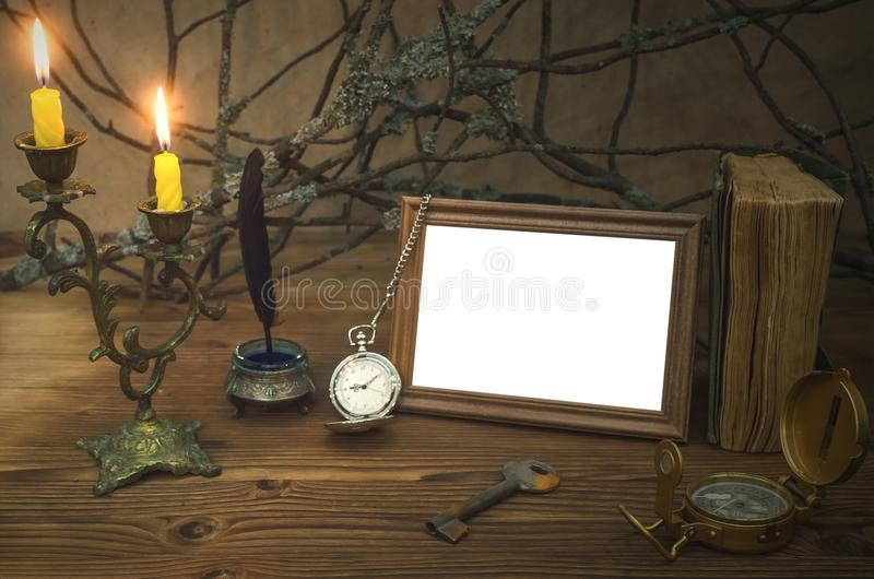 Adventurer concept. Traveller table concept. Explorer. Vintage photo frame with copy space. royalty free stock photos