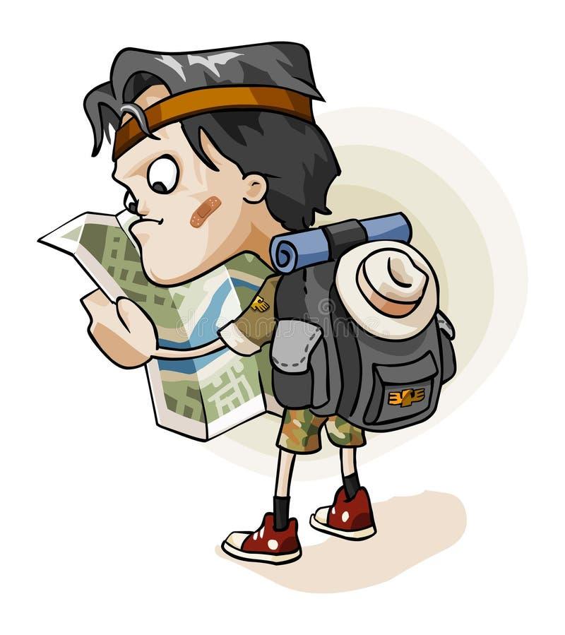 Adventurer lost in jungle stock illustration