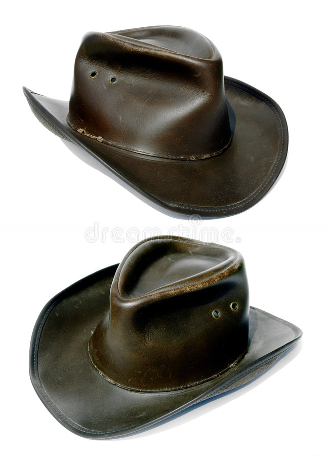 Adventurers rough old leather cowboy hat. Showing both sides stock photography