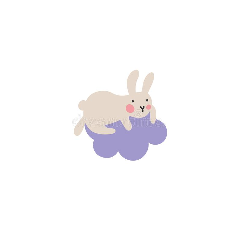 Adventures of Easter bunniesCute little hare climbed onto a purple cloud and doesn`t know how to get out of there. Who will help stock illustration