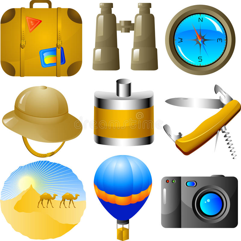 Adventures icon set stock photography