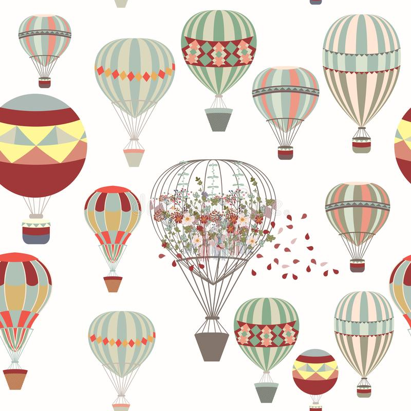 Adventures. Illustration with air balloons in vintage hipster st. Yle ideal for fabric patterns vector illustration