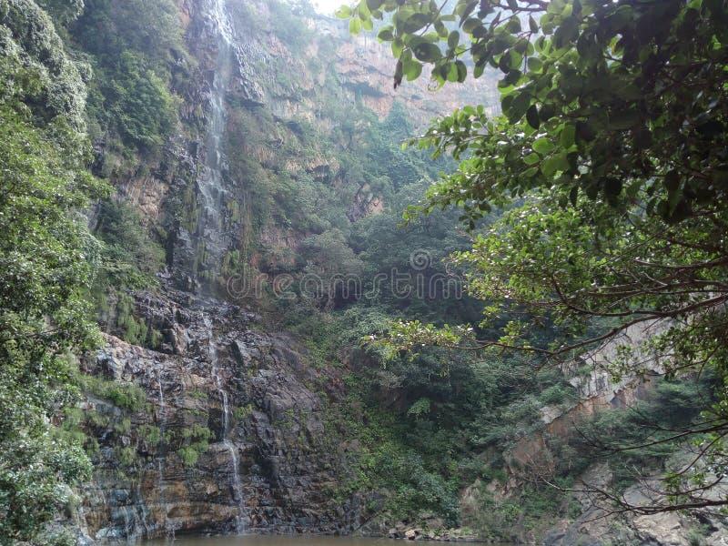 Adventurous waterfall pond stock photography