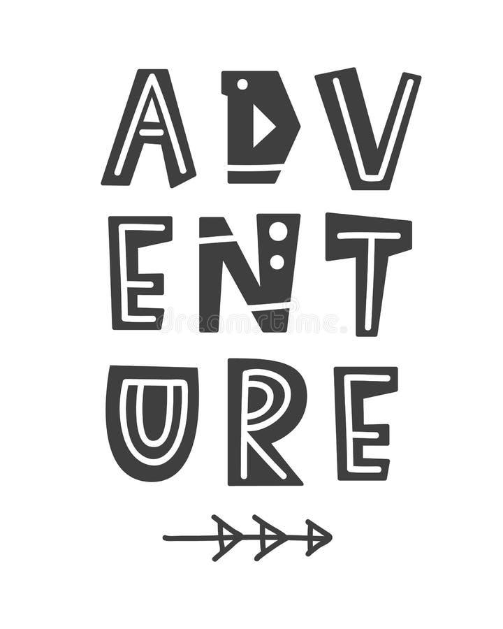 adventurousness Скандинавский плакат стиля с письмами нарисованными рукой иллюстрация вектора