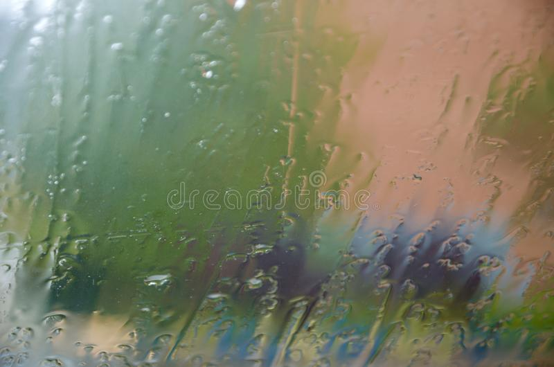 Adverse driving conditions. Dangerous driving during the heavy rain.View through car windshield royalty free stock images