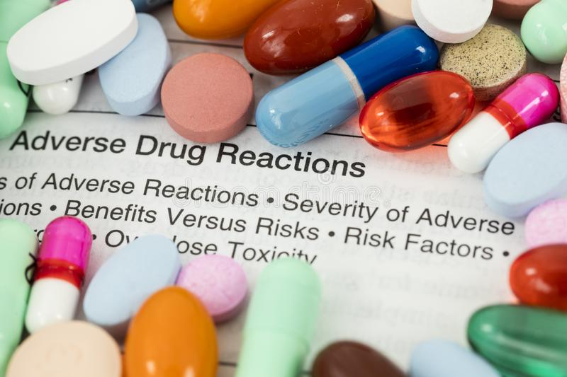 Adverse drug reactions pills royalty free stock photography